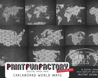 Chalkboard world maps - 12 digital papers (#073) INSTANT DOWNLOAD