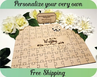 Guest Book Puzzle - Wedding Guest Book Alternative, Personalized Guest Book, Custom Guest Book, Wedding Sign, Unique Guestbook