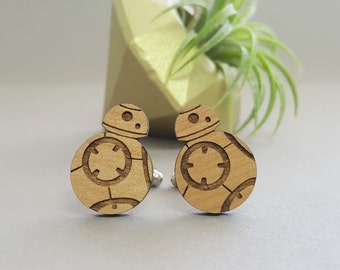 Star Wars BB8 Cuff Links - Laser Engraved on Alder Wood - BB-8