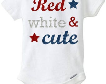 4th of July Red White and Cute Onesie®