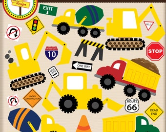 Construction - Cute Digital Clipart Set for Personal and Commercial Use - Card Design, Scrapbooking, and Web Design