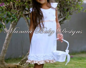 White Flower Girl Dress with Blush Accents