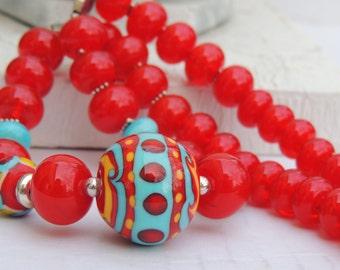 SANGRIA FIREBALL Handmade Lampwork Bead Necklace and Earrings Set