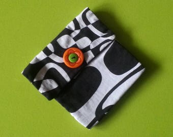 fabric pouch - wallet fabrics - Velcro Pocket - worn scratch - black and white pouch - coin purse fabric 70
