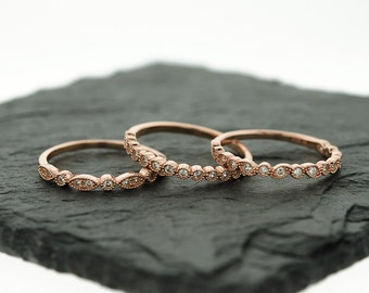 925 Sterling Silver Rose Gold Art Deco Stacking Ring