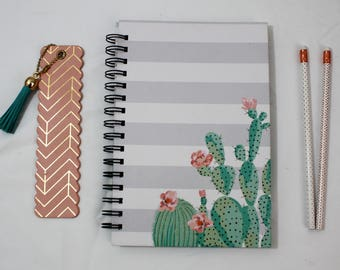 Lined Journal-Spiral Notebook-Writing Journal-Notebook-Bullet Journal-Cute Journal-Journal Diary-Blank Notebook-A5 Notebook-succulent themed