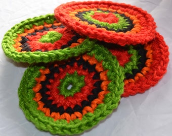 "4 Southwestern Crochet Coasters Great Gift These coasters are thick sturdy and absorbent measuring 5"" across Sale 8.00"
