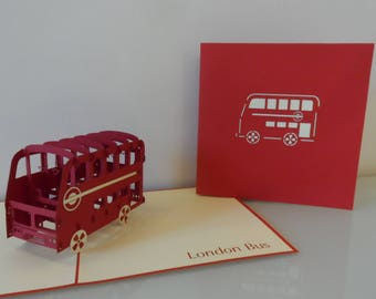 London Bus Pop up Card Birthday-Bon Voyage-Blank (sku132)