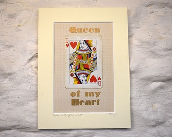 Queen of Hearts, playing card art, letterpress print, Valentine wall art gift. Queen of my Heart.