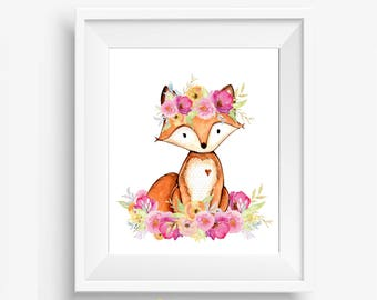 Girl Woodland Nursery, Woodland Nursery, Woodland Nursery Decor, Woodland Animals, Floral Fox Nursery, Girl Woodland Decor, Woodland Fox