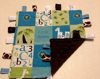 Blue Giraffe Tag Blanket