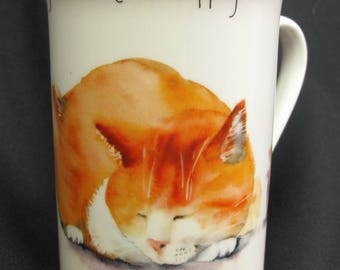 Vintage Orange Cat Mouse Coffee Mug Kent Pottery Mice Will Play Meow Purr