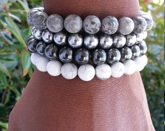 Shades if Gray Bracelet Stack, Beaded Stack Bracelet, Balance Bracelet, Healing Bracelet,Energy Bracelet Gray Stack