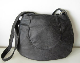 olive green faux leather circle bag