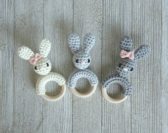 Mini Bunny Teether - Crochet Teething Toy - Crochet Baby Toy - Crochet Wood Toy - 4 inches - With or Without Bow - Boy or Girl