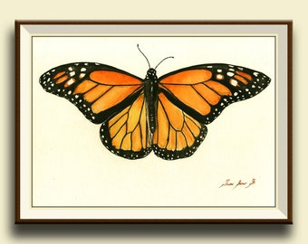 PRINT-Monarch Butterfly -  insect art drawing  print watercolor painting art wall insect Butterflies Art - - Art Print by Juan Bosco