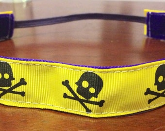 NOODLE HUGGER Non slip ribbon headband - black skulls on yellow - 7/8 inch (running, working out, everyday: women and girls)
