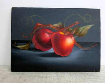 Apple Painting, Vintage Apple Painting, Small Vintage Painting, Painting of Red Apples, Original Painting of Apples -V257