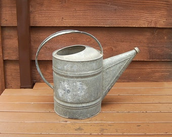 Rustic Galvanized Watering Can, Number 12 Vintage Watering Can, Garden Watering Can