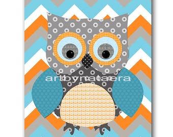 Baby Shower Gift Owl Decor Owl Nursery Kids Wall Art Baby Boy Nursery Decor Baby Nursery Print Boy Children Art Print Orange Blue Gray
