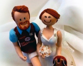 personalised wedding cake toppers bride and groom handmade different clothes, accesories