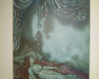 Beautiful antique Edmund Dulac book illustration. Original page from book dated 1911