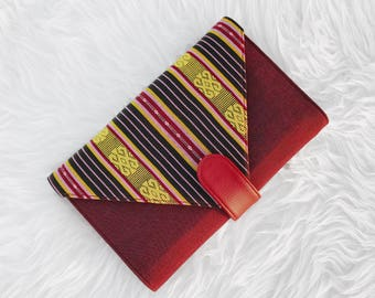 "Ikat Clutch - ""Esther Grace"" in Burgundy"