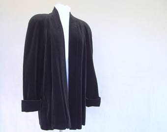 Black Velvet Swing Coat, Vintage Black Dress Jacket, Modern Size 6 to 16, Small, Medium, Large, One Size Fits All