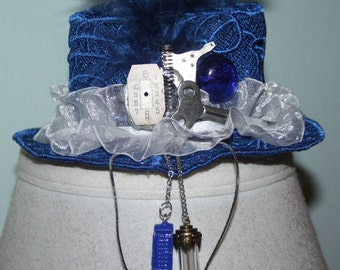 Tardis Blue Lace Dr Who Machine Embroidered Mini Hat