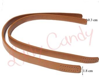 2 faux 55 cm #330029 brown leather bag handles