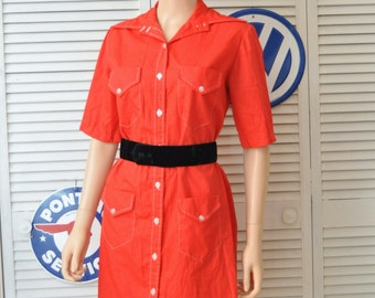 Vintage Womens Shirt Dress Mod Shift Dress 60's Daywear Lipstick Red Pawtucket Sportswear Button Front 4 Pocket Medium Large/Theater Costume