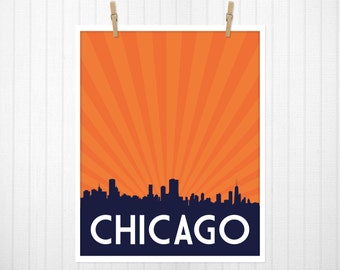 Chicago, Chicago Skyline, Chicago Poster, Chicago Print, Chicago Art, CHI, Chicago Artwork