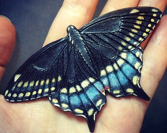 Swallowtail butterfly hair barrette or brooch - Hand tooled leather hair barrette - original gift