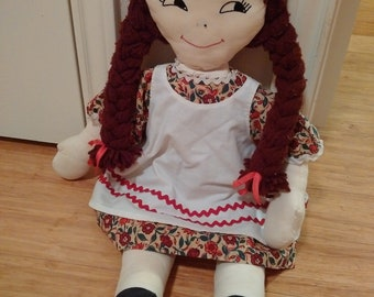 Vintage Handmade Rag Doll With Braided Yarn Pigtails