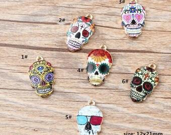 10PCS, 12x21mm, Enamel Charm, Skull Charm, Craft Supplies, Gold Tone, Finding, Pendant