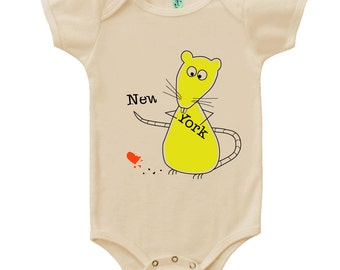 Organic cotton short sleeve infant onesie with screen printed rat design by Bugged Out, made in the USA