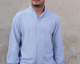 Men shirt, stripped shirt, mao neck shirt, long sleeves, light bue/white stripes, cooton shirt,