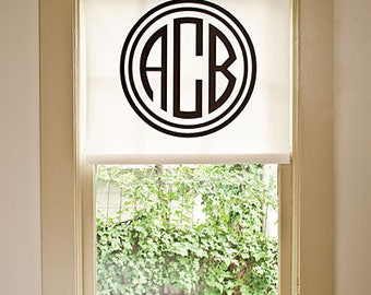 104# Custom Roman Shade with Circular Monogram, in 7 Fabrics, Pay 1/2 Down