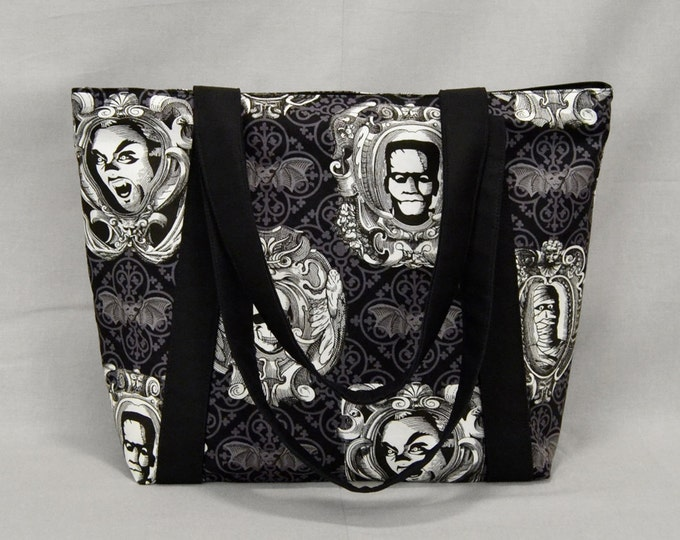 Tote Bag with Zipper, Frankenstein Dracula Mummy Skull Bats, Black and White
