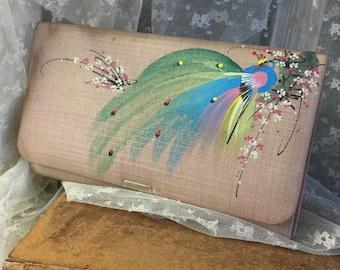 Sweet Signed Hato Hasi Muted Pink Hand Painted Exotic Bird Billfold Wallet 1950's 1960's Silk Fabric Rectangular Snap Shut Green Interior