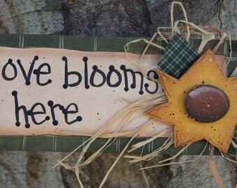"""Sunflower Wood Sign - """"Love Blooms Here"""" - Door or Wall Welcome Hanger"""