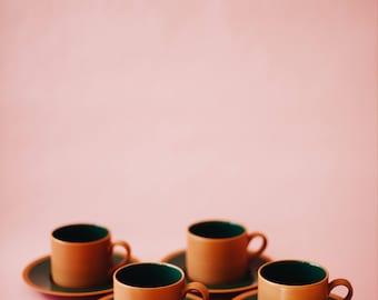 Set of 4 Vintage Mugs and Saucers   Vintage Japanese Mugs and Saucers   Vintage Mugs   Mod Mugs   Mid Mod Mugs   Retro Mugs   Made in Japan