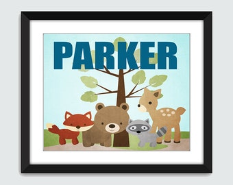 Woodland Animal Wall Art with Custom Name - 8x10 Children Nursery Forest Friends Wall Print Poster