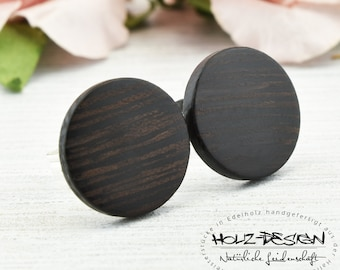 Ø11mm Wooden ear studs fake gauge plugs wooden earrings faux piercing customizeable creoles mini studs natural jewelry