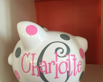 Piggy bank for girls etsy personalized ceramic piggy bank piggy bank piggy bank for girls piggy bank with negle Images