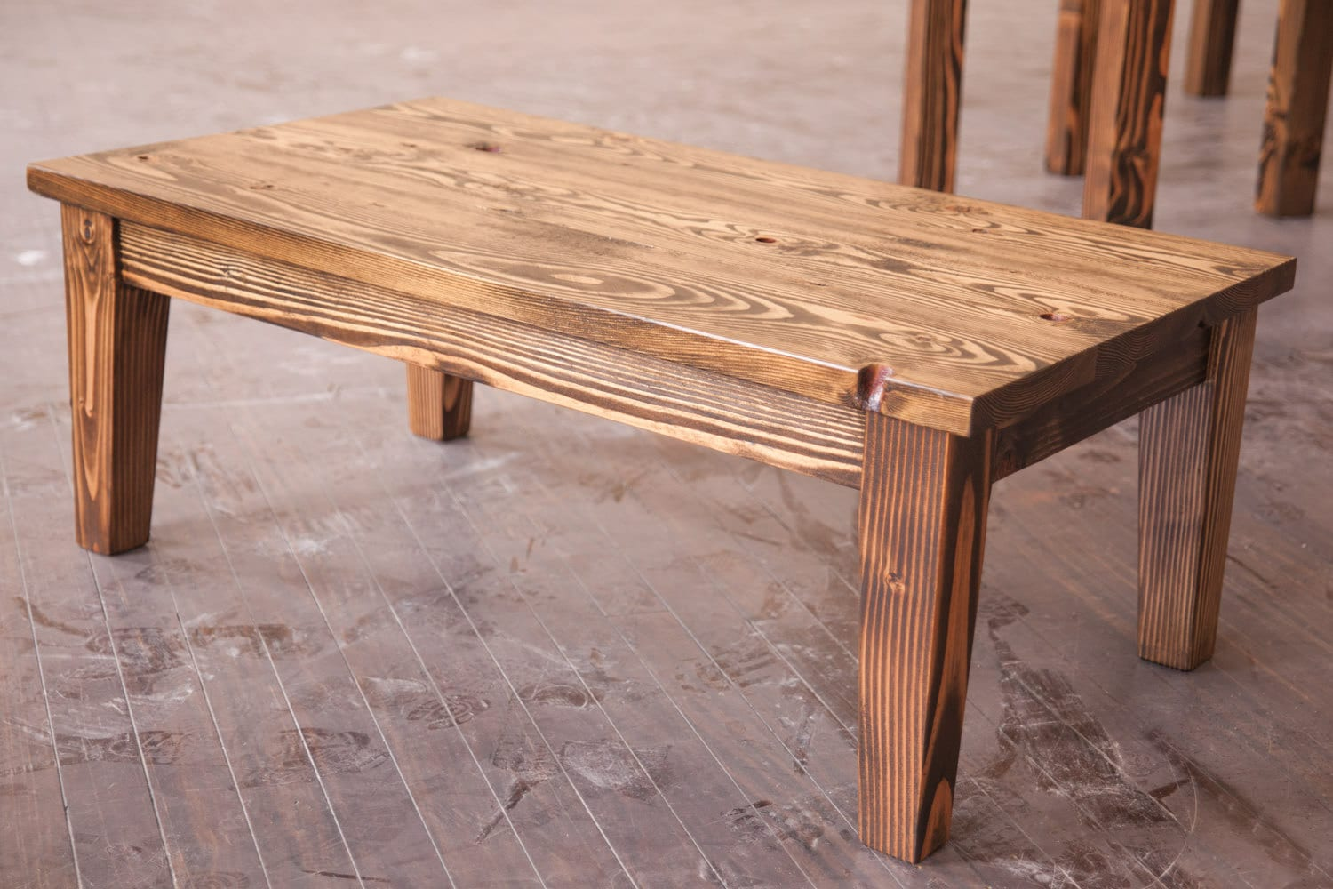 Solid Wood Farmhouse Coffee Table | Rustic Coffee Table | Coffee Table With  Tapered Legs |