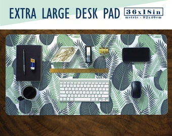 Palm Leaves Print Extra Large Desk Pad with Available Custom Monogram - Extended Mouse Mat - 36x18in