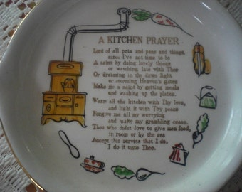 Ceramic Kitchen Prayer Skillet Wall Decor