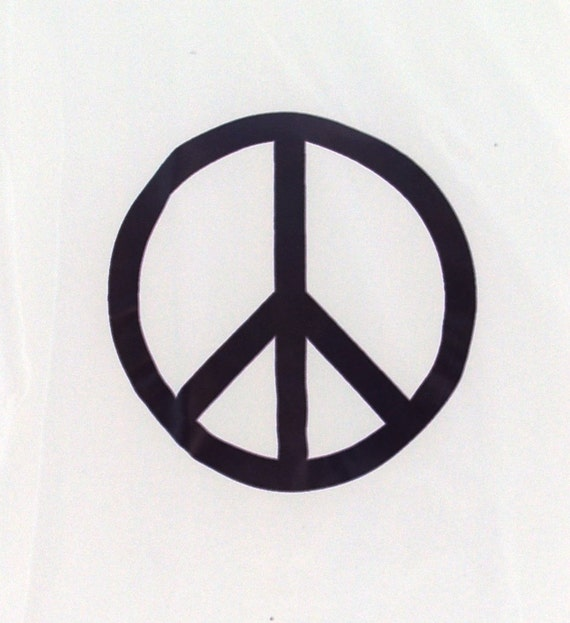 Peace Symbol T Shirt Black On White Cotton Tee Hand Printed