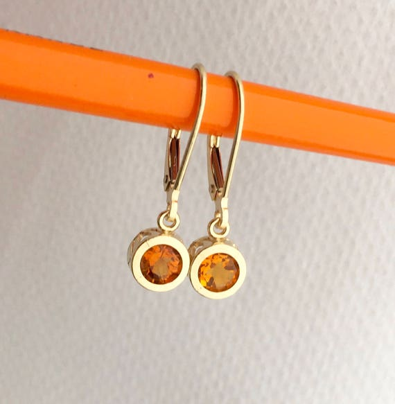 Citrine Filigree Dangle Earrings 14k Fair Trade Gemstones